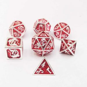 Silver & Red 7 pc Metal Dragon Dice